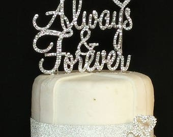 Set of 3 Real Rhinestone Always and Forever With Small Double Hearts  Silver Wedding Love Cake Topper By Forbes Favors