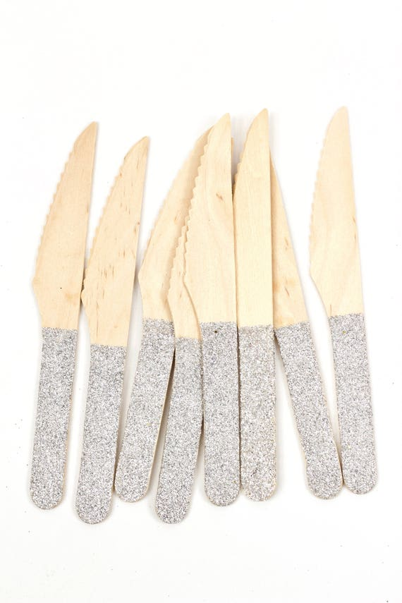 Wood Glitter Knife, Silver Glitter Silverware Silver Glitter Utensils Disposable Party Supply Biodegradable Decorative Tableware Settings