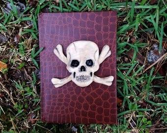 skull and cross bone journal, pirate journal, custom notebook, polymer clay journal, skull notebook, pirate diary, lined journal, notebook
