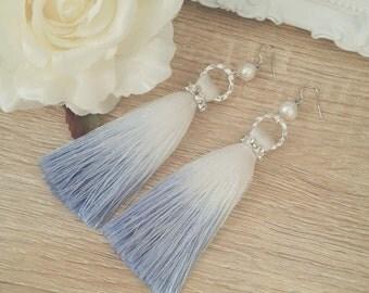 Natural Pearl Earrings, Tassel earrings, Beach wedding Earrings, bridal jewelry
