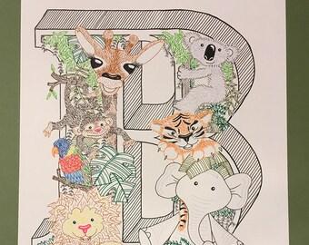Hand Drawn Personalised Jungle Initial Illustration