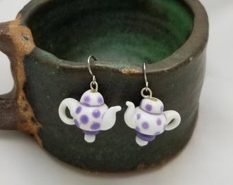 Teapot Earrings, Tea Party Earrings, Tea Dangle Earrings, Tea Earrings, Teapots, Tea Time, White Ceramic Earrings, Polka Dots, Purple