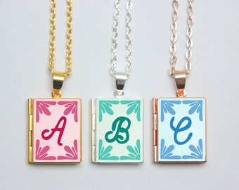 Monogram Book Locket Necklace Charm Literary Jewelry Jewellery Pendant Gift / Alphabet Letter Initial Stamp Personalised Book Charm Pendant