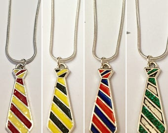 Set of Four Handmade Hogwarts House Necklaces!