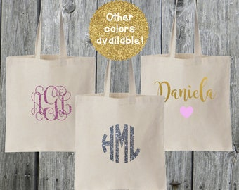 Personalized Canvas Tote Bags | Birthday | Bridal Party | Monogram Bags