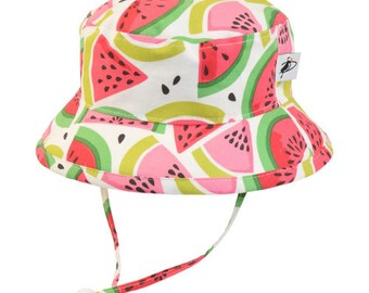 Child's Sun Protection Camp Hat - Cotton Print in Watermelon (6 month, xxs, xs, s, m, l)