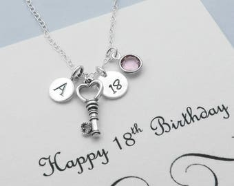 Personalized 18th Birthday Necklace For Her, Sterling Silver Initial Birthstone Necklace, 18th Birthday Key Jewelry, 18th Key Necklaces
