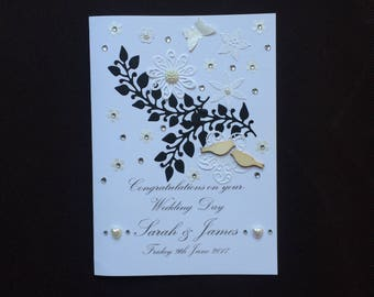 Handmade Personalised Wedding Card Engagement Wedding Acceptance 3D Birds Pearl Details Birthday Beautiful Detail Wife Husband Parents