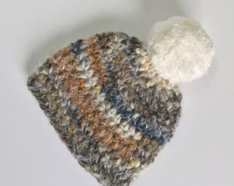White Pompom Beanie, Ready to Ship, Crochet Hat Baby, Baby Boy Hat, Boy Hat, Baby Pompom Hat, Boy Pompom Hat, Crochet Beanie, Winter Beanie