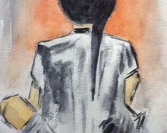 THE fire of HIROSHIMA - made way abstaite watercolor