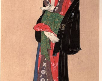 1906, Japanese antique woodblock print, Katsukawa Shungyo, from Ukiyoe-ha-gashu.