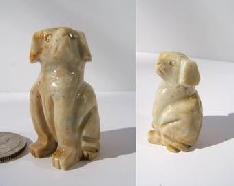 Vintage Dog Figurine | Small Alabaster Dog | Miniature Dog Sculpture | Puppy Figurine | Carved Alabaster Dog