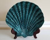 RESERVED for Carrie**Do NOT Buy**Teal Shell Plate, Enamel Clam Shell Plate, Aluminum and Enamel, Trinket Dish, Decorative Shell Plate