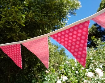 NEW!! PINK polka dot fabric bunting, fabric banner. Reusable, perfect for birthdays, play rooms, photo prop.