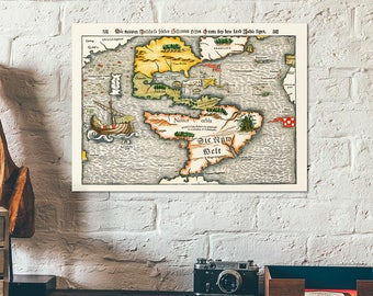 The first Map of the Continent of America - The Americas - Western Hemisphere vintage antique maps