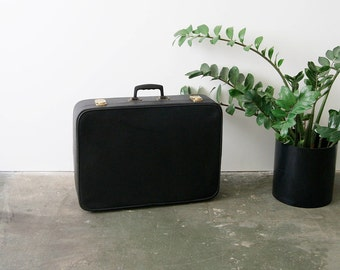 70's suitcase, suitcase, travel bag, black, retro, art leather
