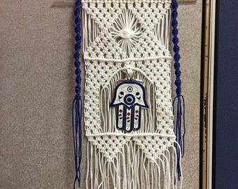 Macrame Wall Hanging with evil eye hand