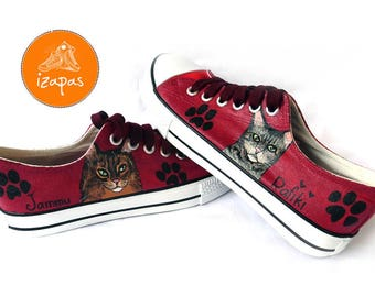 Personalised Cat Shoes, Sneakers, Hand Painted sneakers, cat shoes, Hand Painted, canvas shoes, trainers, hand painted shoes, low tops, cats