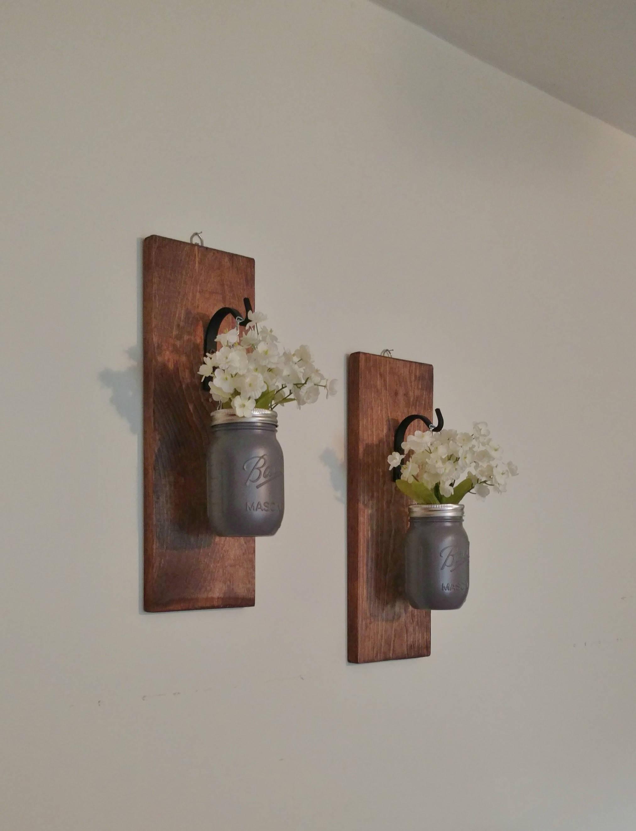 Hanging Masson Jar Wall Sconce Mason Jar Wall Decor Gray Mason Jars
