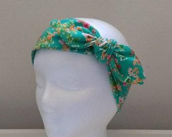 Boho Chic / Green Womens Headband / Hair Wrap for Women / Best friend gift / Wide Boho Headband / Wide adult head wrap / Bohemian Hairwrap