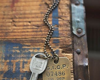 Vintage GM Necklace | Key Repurposed Brass Tool Tag Chevy Chevrolet Car Truck Key Gifts for Him
