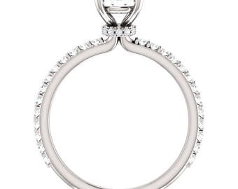 White Gold or Platinum 6.5mm Round Forever One Moissanite Colorless Engagement Ring - Claw Prong Setting - 14K 18K Platinum Setting