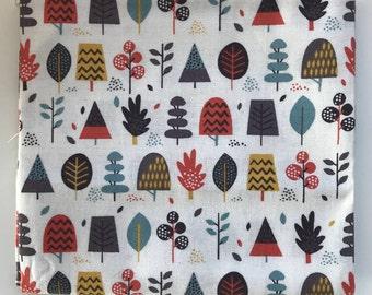 Makower Fabric Windy Day Multi Trees - 100% Cotton