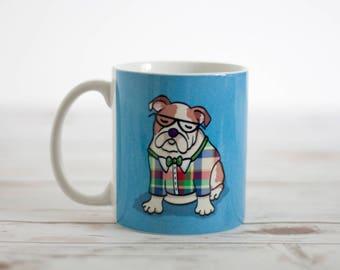 English Bulldog Mug - Pet Lover Gift - Choose Background Color