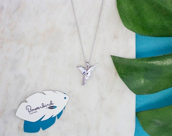 Hummingbird Origami Sterling Silver Long Necklace