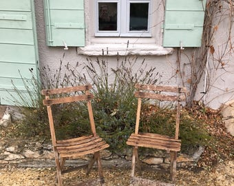 12 great French bistrot patio chairs, folding in wood. Café or pub garden chairs, Marmet on each chair, the name of the café. Listing for 2.