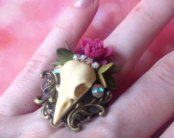 Dark raspberry pink bird skull ring
