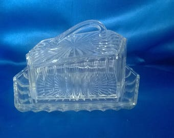 Art Deco Clear Glass Butter Dish