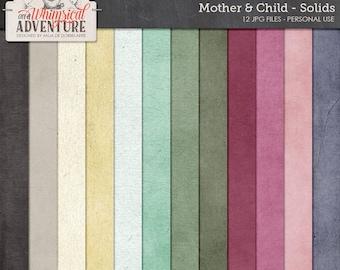 Mother, baby, child, digital scrapbooking paperpack, digital download solids, textures, backgrounds, art journaling, cardstock, solid papers