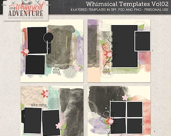 Album Templates, Photographer Album, Photo Book, Ready To Use, Custom Scrapbook Pages, For Photos, Painted Clipping Mask, Digital Photo Mask