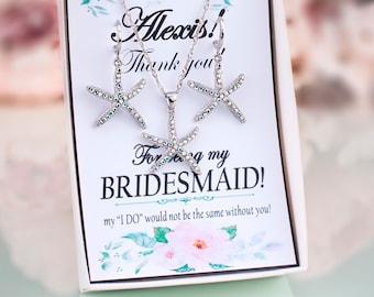 Starfish Jewelry Set Starfish Earrings Beach Wedding Jewelry Set Bridesmaid Jewelry Gift Set Starfish Necklace Bridesmaid Beach Necklace