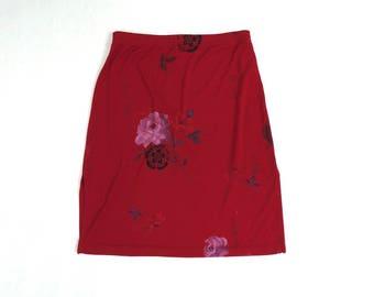 90s Red Asian Flower Skirt by A. Byer California // Red Side Slit Mini-Skirt // High Waisted // Size Medium