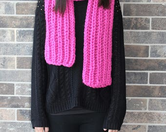 Hot Pink Chunky Scarf