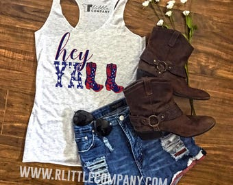 Hey Y'all Festival Women's Black and White Tank - XS-4XL // Stagecoach Country Concert Tank // Southern // Cowboy Boots