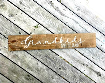 Grandkids make life grand, Grandchildren make life grand, Grandparent Gift, Wood Sign, Picture Holder