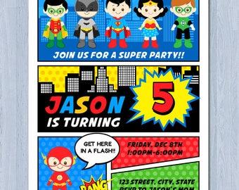 Superhero Comic Invitation, Superhero Party Invitation, Superhero Birthday Invite