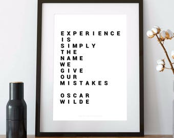 OSCAR WILDE, oscar wilde QUOTE, experience is simply the name we give our mistakes, wilde, oscar wilde gift, 8x10 print