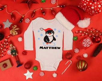Boys Personalized Holiday Penguin - Add Name - Long Sleeve Baby Bodysuit Toddler Holiday Christmas Shower Winter Season Cute Cuddly Reindeer