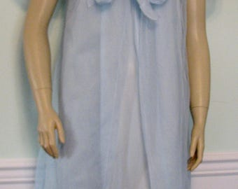 Vintage Movie Star Peignoir Set 1960s Blue Chiffon Robe and Nightgown