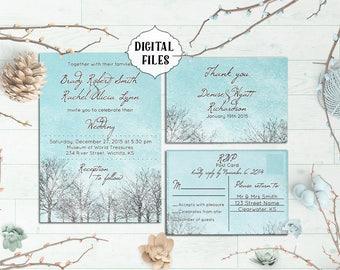 DIGITAL, Winter Wedding Invitation, Printable Wedding invitation, Winter wedding invite, Snow wedding invitation, winter party, blue wedding