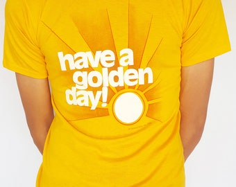 Vintage 1970s Yellow 'Have a Golden Day' T-Shirt / Size (S/M)