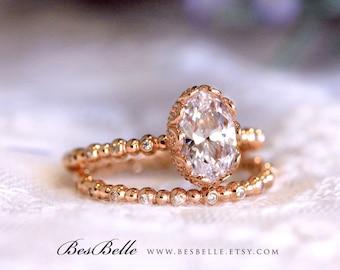 2.50 ct.tw Art Deco Bridal Set Ring-Crown Set Oval Cut Diamond Simulant-Elegant Wedding Set Ring-Rose Gold Plated-Sterling Silver [6954RG-2]