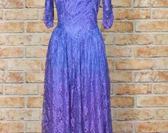 Vintage Dress 80s Retro Victorian Style Wedding Party Cocktail Hen Swing UK 10...US 6