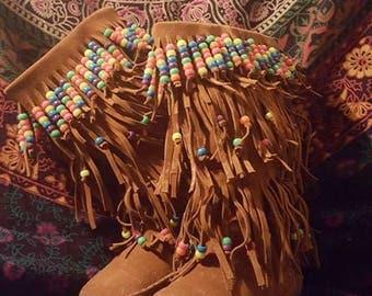 Hand- Beaded Rainbow Dancer Gypsy Shag Boots Size 6
