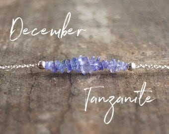 Raw Tanzanite Crystal Necklace, December Birthstone, Tanzanite Bar Necklace, Raw Stone Jewelry, Periwinkle Blue, Inspirational Gift for Her