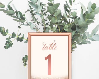 """1-30 Rose Gold Table Numbers Printable Rose Gold Wedding Decor Rose Gold Glitter Table Numbers Printable Table Signs Pink And Gold 5x7"""""""